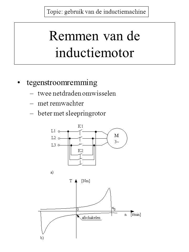 Topic: gebruik van de inductiemachine Remmen van de inductiemotor •tegenstroomremming –twee netdraden omwisselen –met remwachter –beter met sleepringr