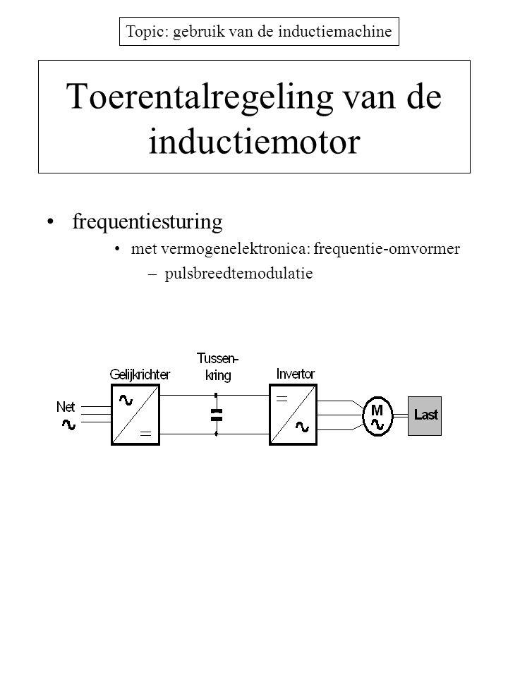 Topic: gebruik van de inductiemachine Toerentalregeling van de inductiemotor •frequentiesturing •met vermogenelektronica: frequentie-omvormer –pulsbre