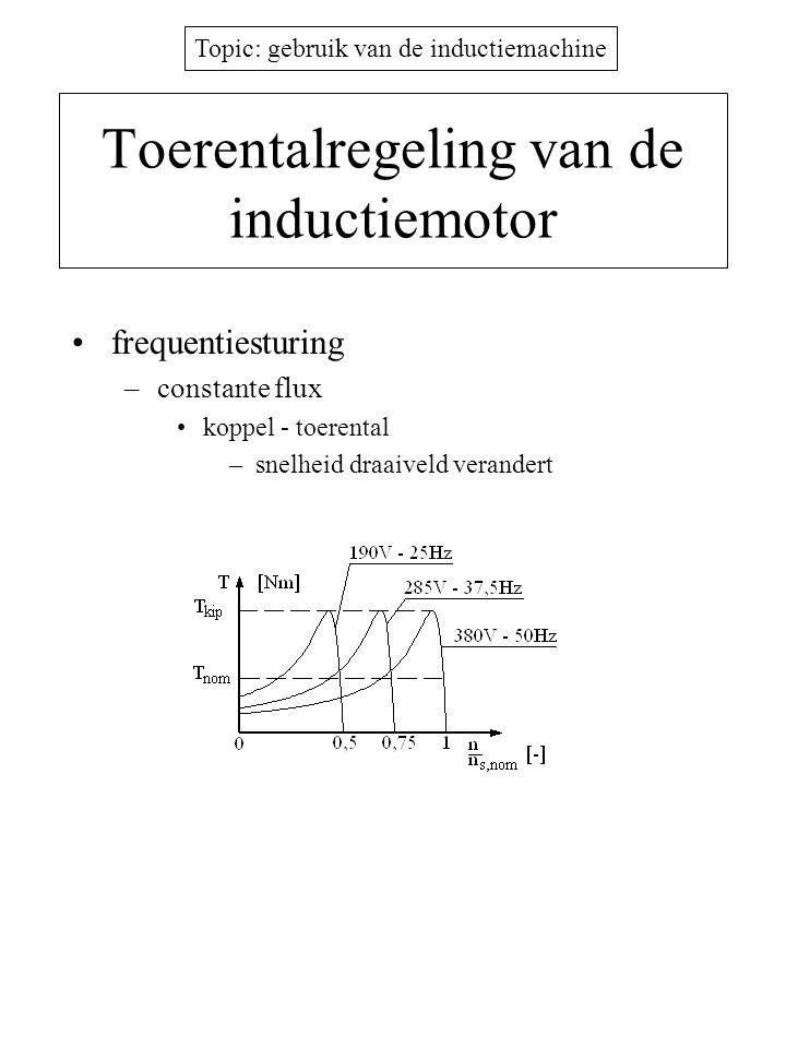 Topic: gebruik van de inductiemachine Toerentalregeling van de inductiemotor •frequentiesturing –constante flux •koppel - toerental –snelheid draaivel