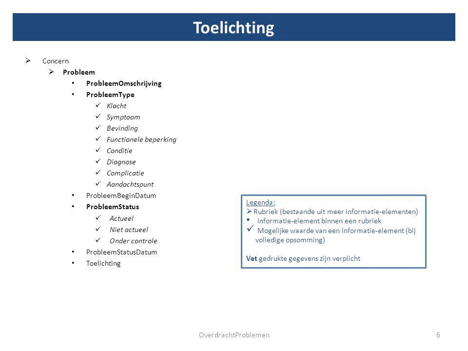Voorbeeld 7OverdrachtProblemen Onderstaand zijn twee voorbeelden toegevoegd waarin getoond wordt hoe een probleemlijst er uit kan zien in het geval een platte probleemlijst (een één op één relatie tussen concern en probleem) en in het geval van een gestructureerde lijst (één concern met meerdere gerelateerde problemen).