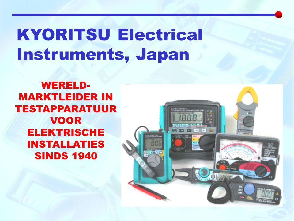 KYORITSU Electrical Instruments, Japan WERELD- MARKTLEIDER IN TESTAPPARATUUR VOOR ELEKTRISCHE INSTALLATIES SINDS 1940