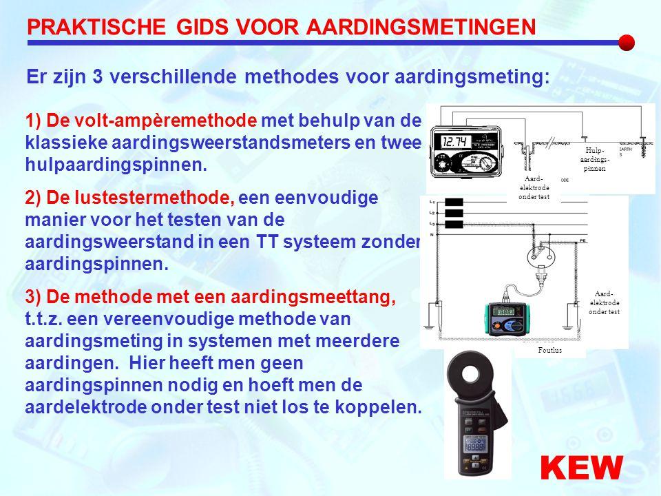 KEW 1) De volt-ampèremethode met behulp van de klassieke aardingsweerstandsmeters en twee hulpaardingspinnen. 2) De lustestermethode, een eenvoudige m