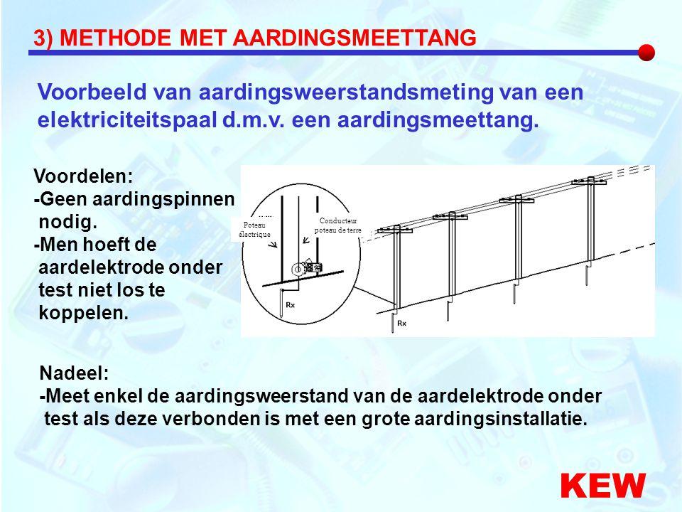 Voorbeeld van aardingsweerstandsmeting van een elektriciteitspaal d.m.v. een aardingsmeettang. KEW Voordelen: -Geen aardingspinnen nodig. -Men hoeft d