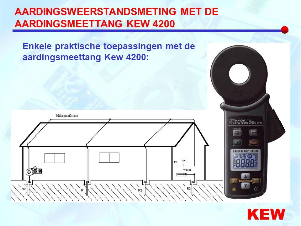 AARDINGSWEERSTANDSMETING MET DE AARDINGSMEETTANG KEW 4200 KEW Enkele praktische toepassingen met de aardingsmeettang Kew 4200: gas water bliksemafleid