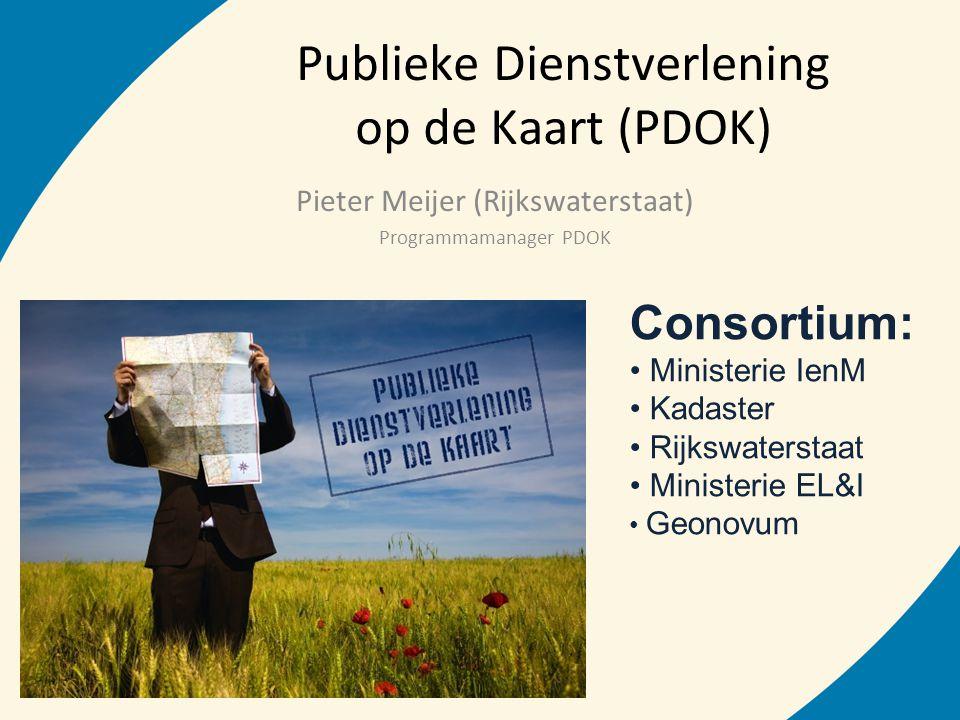 Publieke Dienstverlening op de Kaart (PDOK) Pieter Meijer (Rijkswaterstaat) Programmamanager PDOK Consortium: • Ministerie IenM • Kadaster • Rijkswate