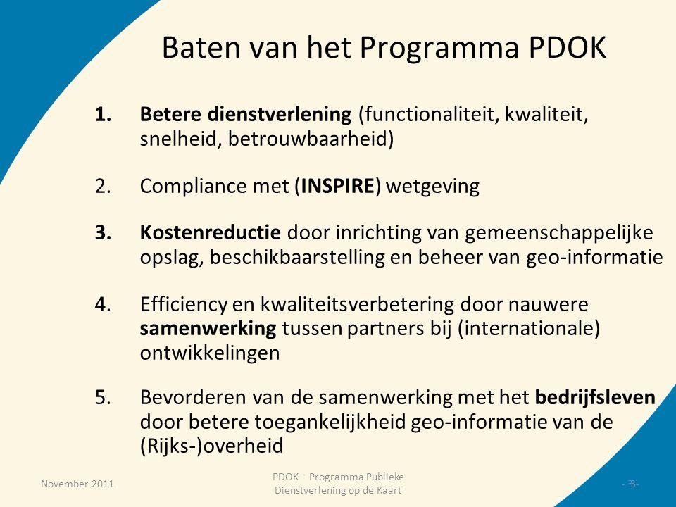 November 2011 PDOK – Programma Publieke Dienstverlening op de Kaart Baten van het Programma PDOK 1.Betere dienstverlening (functionaliteit, kwaliteit,