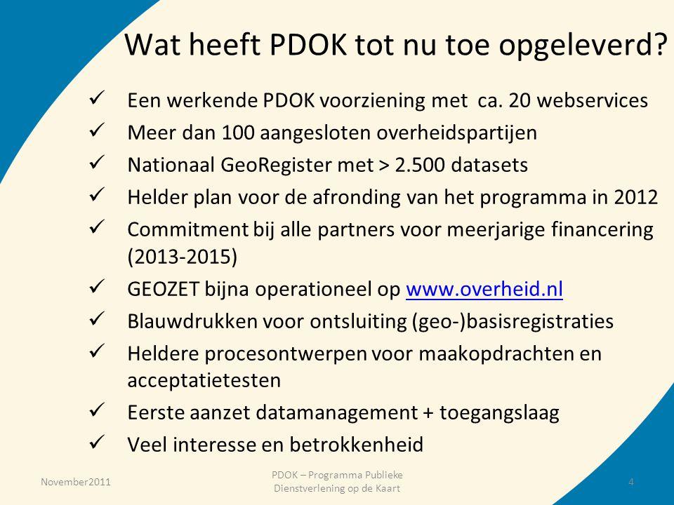 Wat heeft PDOK tot nu toe opgeleverd?  Een werkende PDOK voorziening met ca. 20 webservices  Meer dan 100 aangesloten overheidspartijen  Nationaal