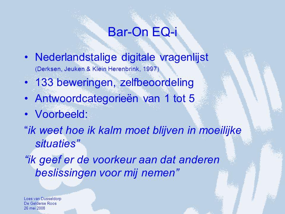 Bar-On EQ-i •Nederlandstalige digitale vragenlijst (Derksen, Jeuken & Klein Herenbrink, 1997) •133 beweringen, zelfbeoordeling •Antwoordcategorieën va