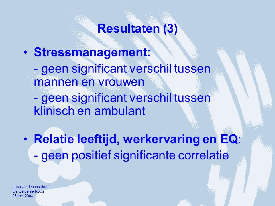 Resultaten (3) •Stressmanagement: - geen significant verschil tussen mannen en vrouwen - geen significant verschil tussen klinisch en ambulant •Relati