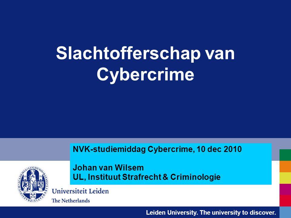 Leiden University. The university to discover. Slachtofferschap van Cybercrime NVK-studiemiddag Cybercrime, 10 dec 2010 Johan van Wilsem UL, Instituut