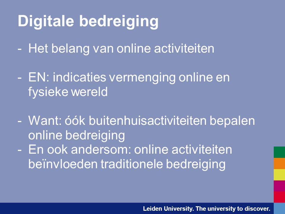 Leiden University. The university to discover. Digitale bedreiging -Het belang van online activiteiten -EN: indicaties vermenging online en fysieke we