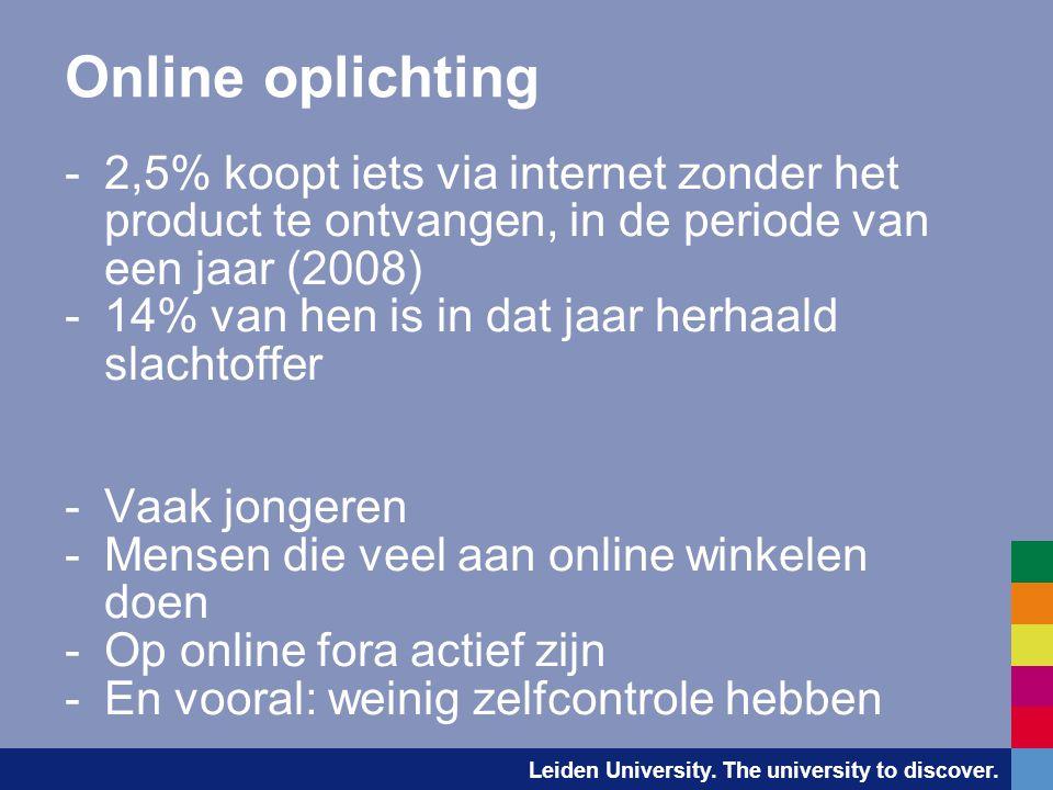 Leiden University. The university to discover. Online oplichting -2,5% koopt iets via internet zonder het product te ontvangen, in de periode van een