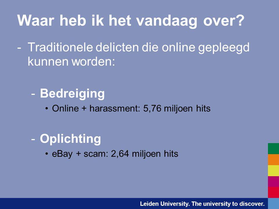 Leiden University. The university to discover. Waar heb ik het vandaag over? -Traditionele delicten die online gepleegd kunnen worden: -Bedreiging •On