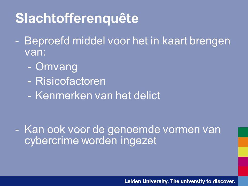 Leiden University. The university to discover. Slachtofferenquête -Beproefd middel voor het in kaart brengen van: -Omvang -Risicofactoren -Kenmerken v