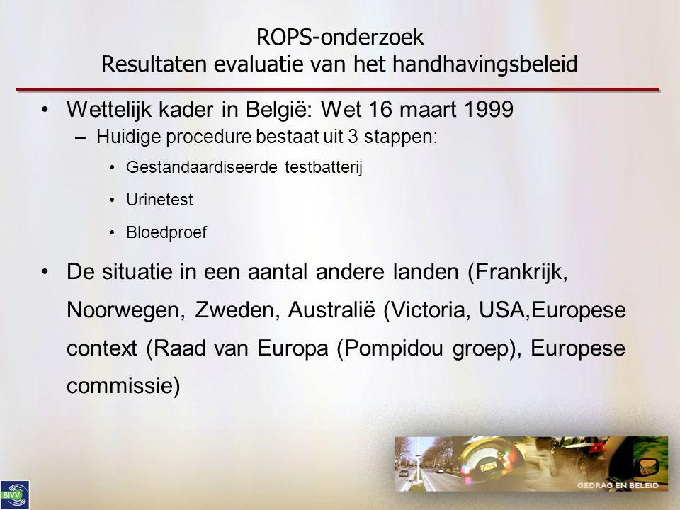 ROPS-onderzoek Resultaten evaluatie van het handhavingsbeleid •Wettelijk kader in België: Wet 16 maart 1999 –Huidige procedure bestaat uit 3 stappen: