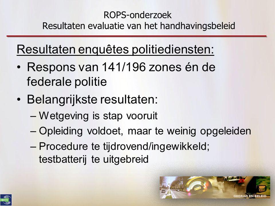 ROPS-onderzoek Resultaten evaluatie van het handhavingsbeleid Resultaten enquêtes politiediensten: •Respons van 141/196 zones én de federale politie •