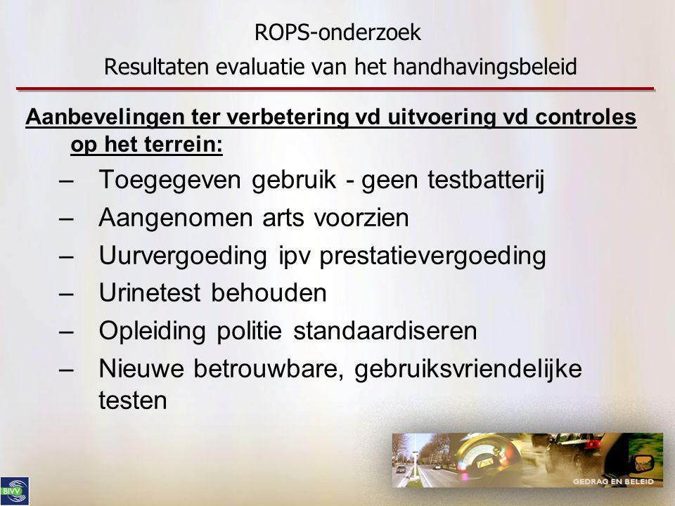 ROPS-onderzoek Resultaten evaluatie van het handhavingsbeleid Aanbevelingen ter verbetering vd uitvoering vd controles op het terrein: –Toegegeven geb