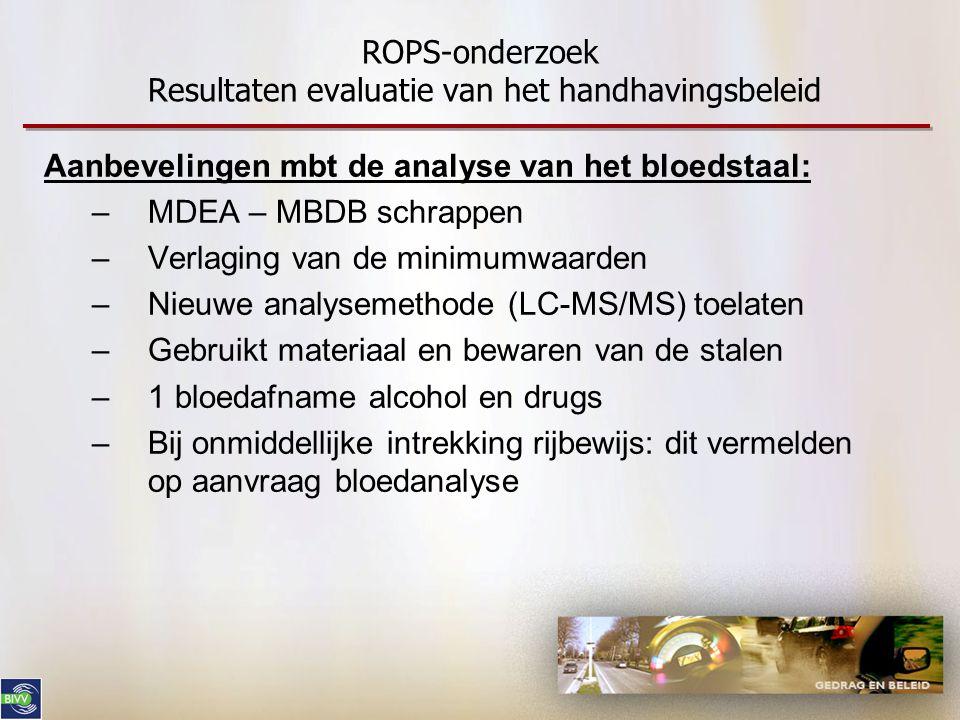 ROPS-onderzoek Resultaten evaluatie van het handhavingsbeleid Aanbevelingen mbt de analyse van het bloedstaal: –MDEA – MBDB schrappen –Verlaging van d