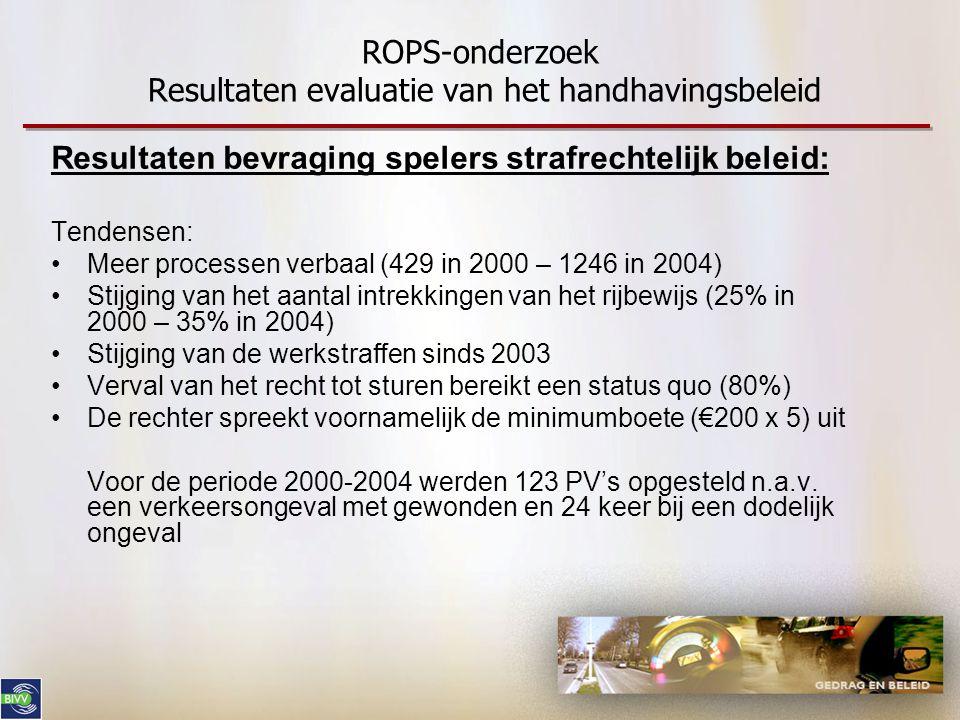 ROPS-onderzoek Resultaten evaluatie van het handhavingsbeleid Resultaten bevraging spelers strafrechtelijk beleid: Tendensen: •Meer processen verbaal