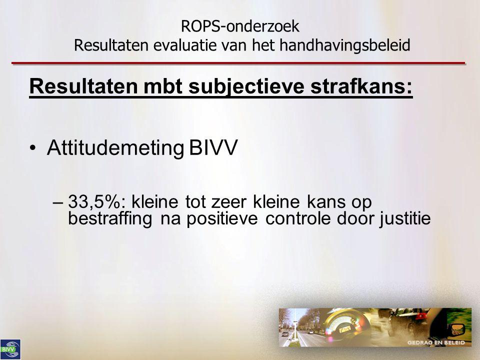 ROPS-onderzoek Resultaten evaluatie van het handhavingsbeleid Resultaten mbt subjectieve strafkans: •Attitudemeting BIVV –33,5%: kleine tot zeer klein