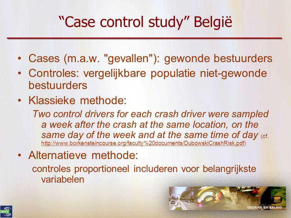 """""""Case control study"""" België •Cases (m.a.w."""