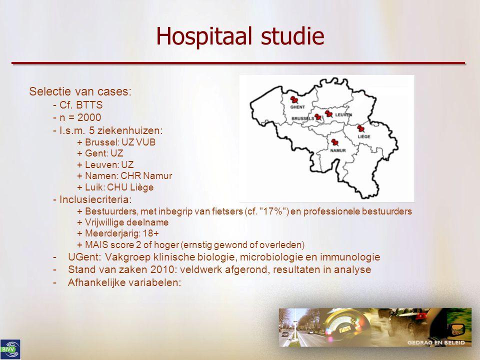 Hospitaal studie Selectie van cases: - Cf. BTTS - n = 2000 - I.s.m. 5 ziekenhuizen: + Brussel: UZ VUB + Gent: UZ + Leuven: UZ + Namen: CHR Namur + Lui