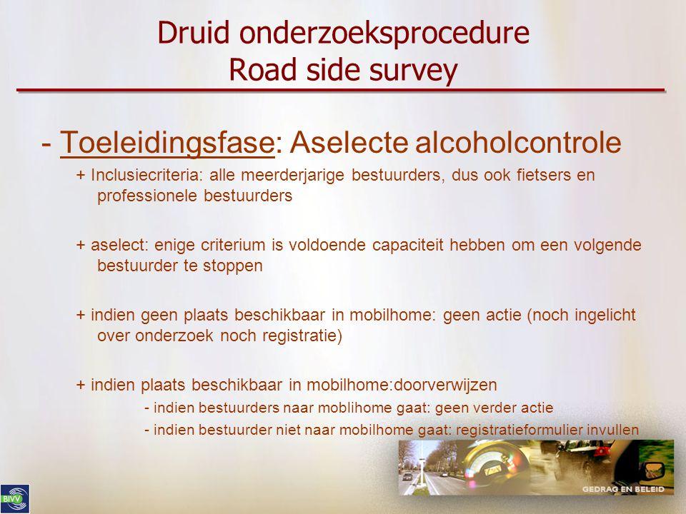Druid onderzoeksprocedure Road side survey - Toeleidingsfase: Aselecte alcoholcontrole + Inclusiecriteria: alle meerderjarige bestuurders, dus ook fie