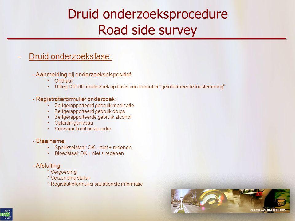 Druid onderzoeksprocedure Road side survey -Druid onderzoeksfase: - Aanmelding bij onderzoeksdispositief: •Onthaal •Uitleg DRUID-onderzoek op basis va