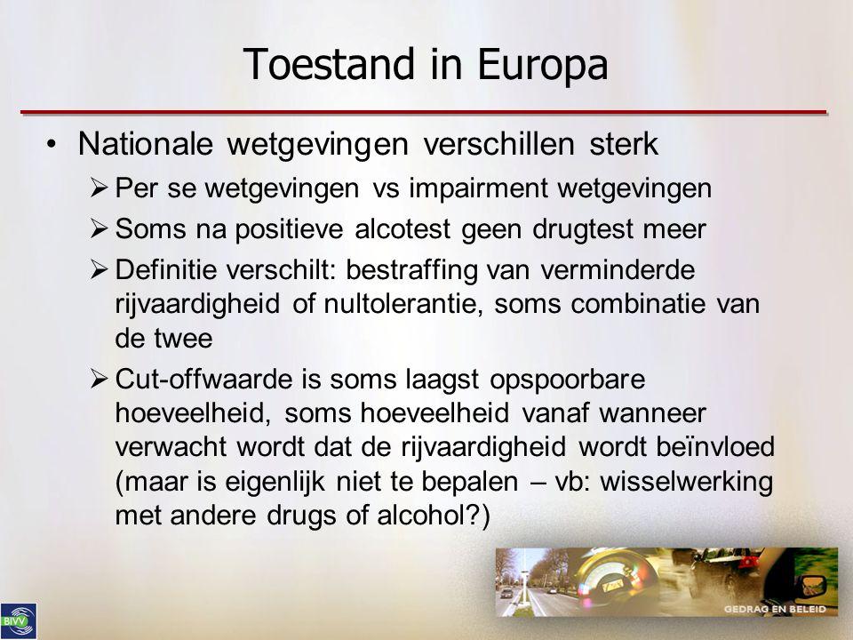 Toestand in Europa •Nationale wetgevingen verschillen sterk  Per se wetgevingen vs impairment wetgevingen  Soms na positieve alcotest geen drugtest