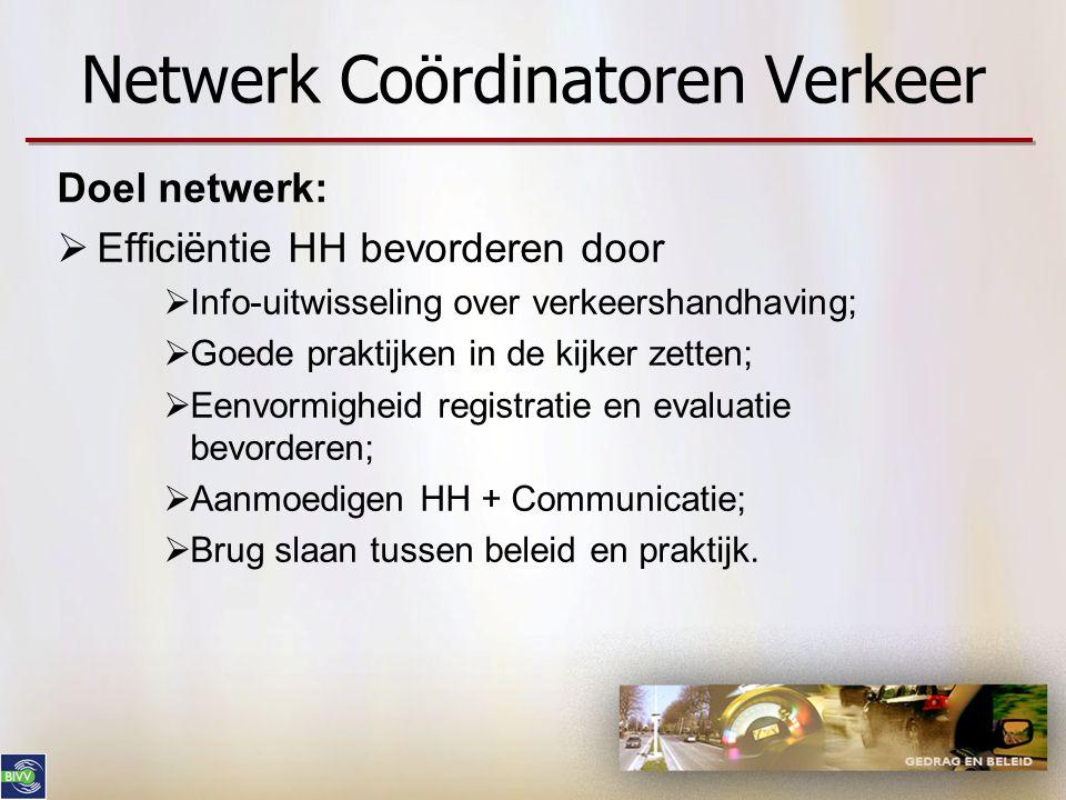 Netwerk Coördinatoren Verkeer Doel netwerk:  Efficiëntie HH bevorderen door  Info-uitwisseling over verkeershandhaving;  Goede praktijken in de kij