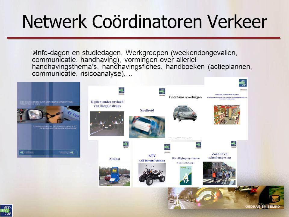 Netwerk Coördinatoren Verkeer  Info-dagen en studiedagen, Werkgroepen (weekendongevallen, communicatie, handhaving), vormingen over allerlei handhavi