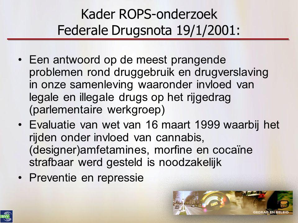 Kader ROPS-onderzoek Federale Drugsnota 19/1/2001: •Een antwoord op de meest prangende problemen rond druggebruik en drugverslaving in onze samenlevin