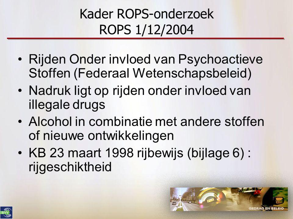 Kader ROPS-onderzoek ROPS 1/12/2004 •Rijden Onder invloed van Psychoactieve Stoffen (Federaal Wetenschapsbeleid) •Nadruk ligt op rijden onder invloed