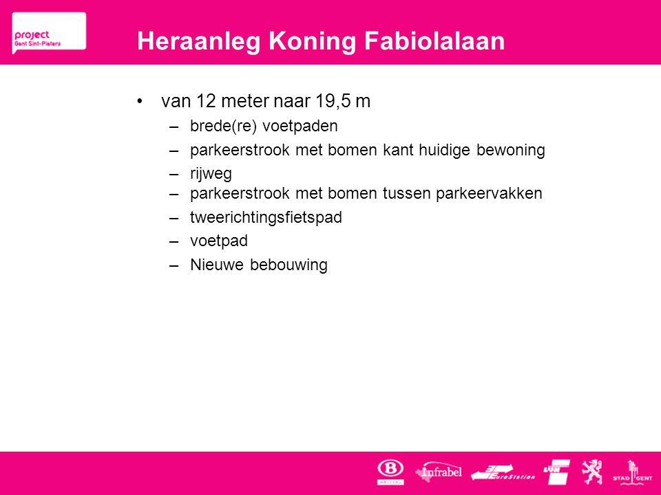 Heraanleg Koning Fabiolalaan •van 12 meter naar 19,5 m –brede(re) voetpaden –parkeerstrook met bomen kant huidige bewoning –rijweg –parkeerstrook met bomen tussen parkeervakken –tweerichtingsfietspad –voetpad –Nieuwe bebouwing