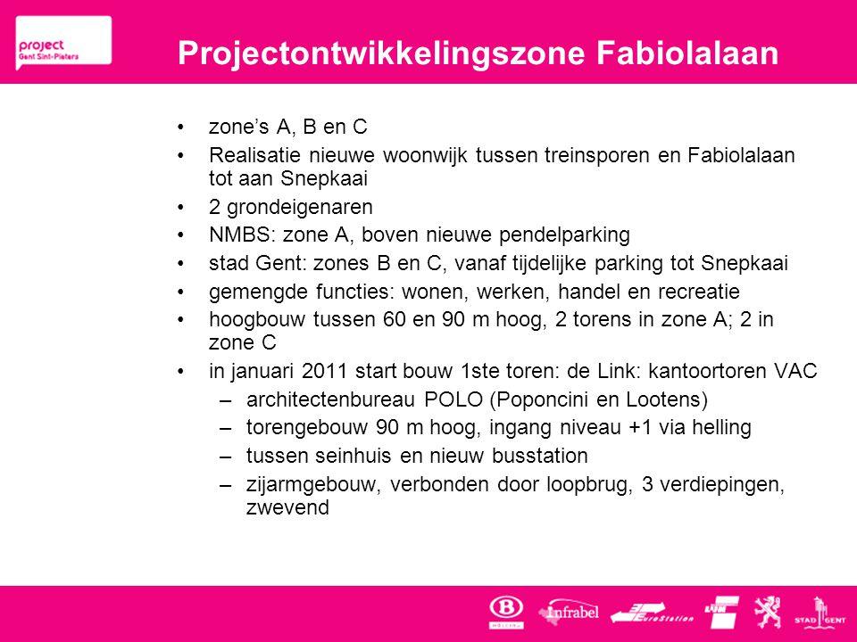 Projectontwikkelingszone Fabiolalaan •zone's A, B en C •Realisatie nieuwe woonwijk tussen treinsporen en Fabiolalaan tot aan Snepkaai •2 grondeigenaren •NMBS: zone A, boven nieuwe pendelparking •stad Gent: zones B en C, vanaf tijdelijke parking tot Snepkaai •gemengde functies: wonen, werken, handel en recreatie •hoogbouw tussen 60 en 90 m hoog, 2 torens in zone A; 2 in zone C •in januari 2011 start bouw 1ste toren: de Link: kantoortoren VAC –architectenbureau POLO (Poponcini en Lootens) –torengebouw 90 m hoog, ingang niveau +1 via helling –tussen seinhuis en nieuw busstation –zijarmgebouw, verbonden door loopbrug, 3 verdiepingen, zwevend