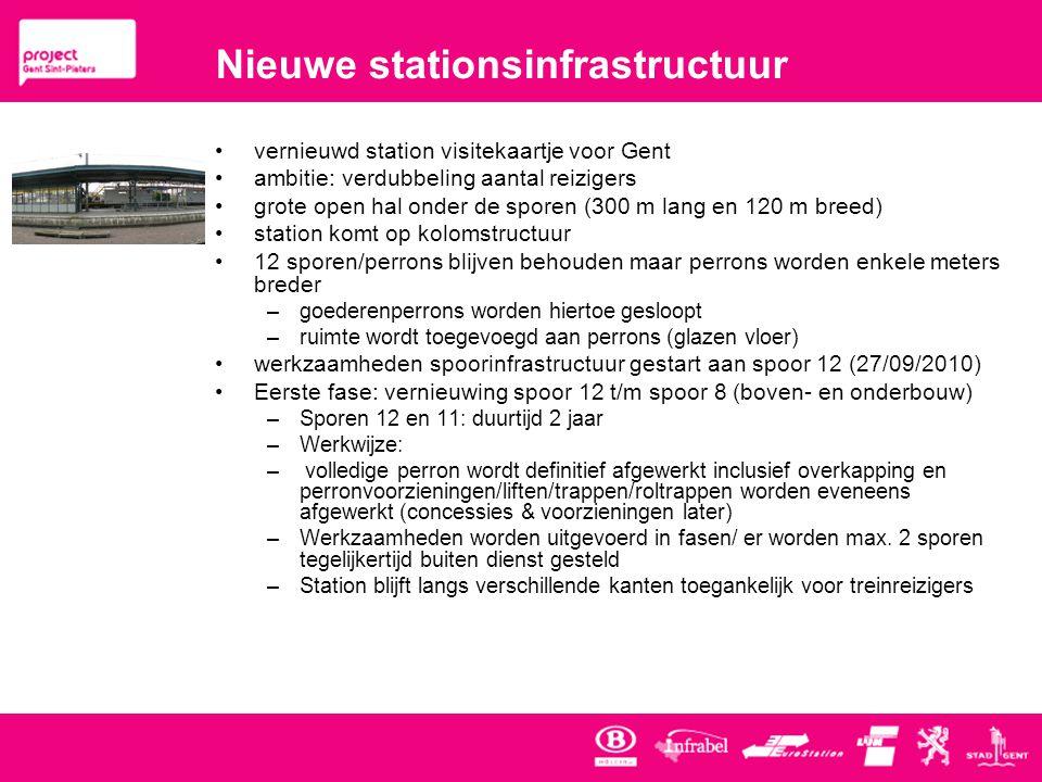 Nieuwe stationsinfrastructuur •vernieuwd station visitekaartje voor Gent •ambitie: verdubbeling aantal reizigers •grote open hal onder de sporen (300 m lang en 120 m breed) •station komt op kolomstructuur •12 sporen/perrons blijven behouden maar perrons worden enkele meters breder –goederenperrons worden hiertoe gesloopt –ruimte wordt toegevoegd aan perrons (glazen vloer) •werkzaamheden spoorinfrastructuur gestart aan spoor 12 (27/09/2010) •Eerste fase: vernieuwing spoor 12 t/m spoor 8 (boven- en onderbouw) –Sporen 12 en 11: duurtijd 2 jaar –Werkwijze: – volledige perron wordt definitief afgewerkt inclusief overkapping en perronvoorzieningen/liften/trappen/roltrappen worden eveneens afgewerkt (concessies & voorzieningen later) –Werkzaamheden worden uitgevoerd in fasen/ er worden max.