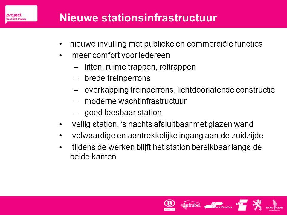 Nieuwe stationsinfrastructuur •nieuwe invulling met publieke en commerciële functies • meer comfort voor iedereen – liften, ruime trappen, roltrappen – brede treinperrons – overkapping treinperrons, lichtdoorlatende constructie – moderne wachtinfrastructuur – goed leesbaar station • veilig station, 's nachts afsluitbaar met glazen wand • volwaardige en aantrekkelijke ingang aan de zuidzijde • tijdens de werken blijft het station bereikbaar langs de beide kanten