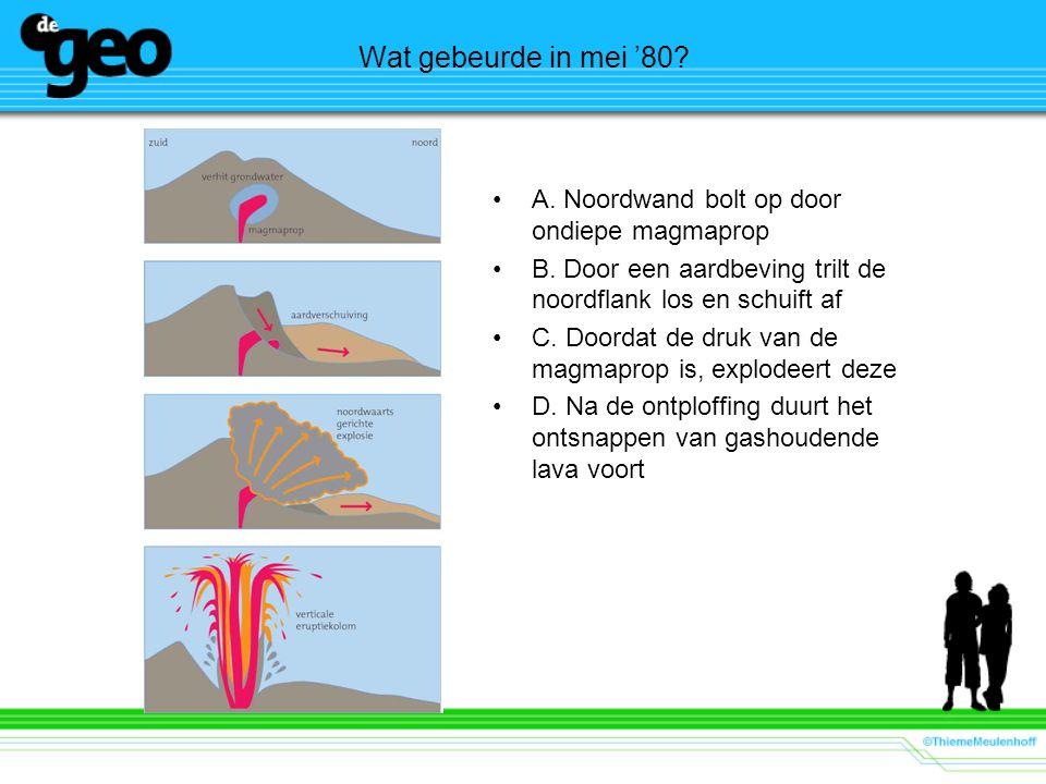 Wat gebeurde in mei '80.•A. Noordwand bolt op door ondiepe magmaprop •B.
