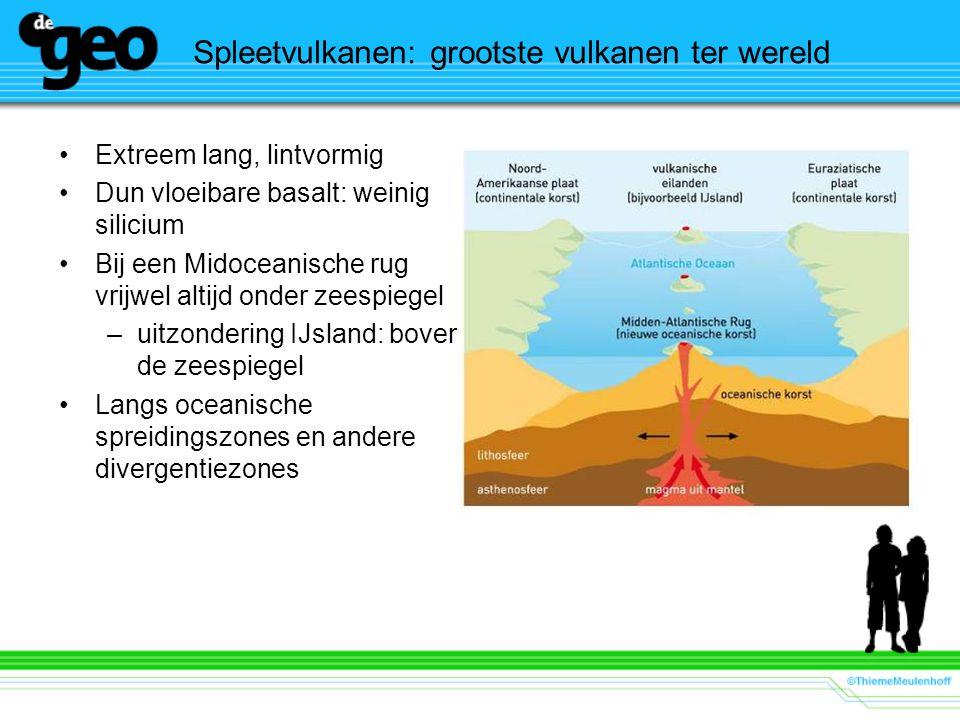 Spleetvulkanen: grootste vulkanen ter wereld •Extreem lang, lintvormig •Dun vloeibare basalt: weinig silicium •Bij een Midoceanische rug vrijwel altijd onder zeespiegel –uitzondering IJsland: boven de zeespiegel •Langs oceanische spreidingszones en andere divergentiezones