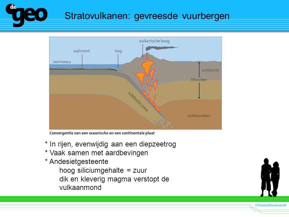 Stratovulkanen: gevreesde vuurbergen * In rijen, evenwijdig aan een diepzeetrog * Vaak samen met aardbevingen * Andesietgesteente hoog siliciumgehalte = zuur dik en kleverig magma verstopt de vulkaanmond