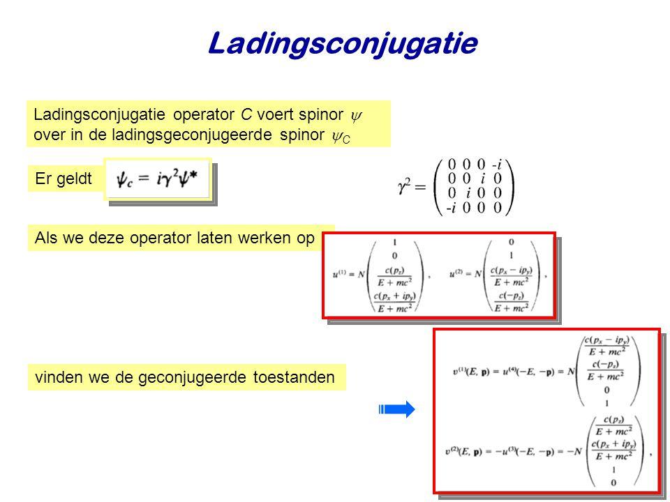 Najaar 2009Jo van den Brand11 Ladingsconjugatie Ladingsconjugatie operator C voert spinor  over in de ladingsgeconjugeerde spinor  C Als we deze operator laten werken op vinden we de geconjugeerde toestanden Er geldt