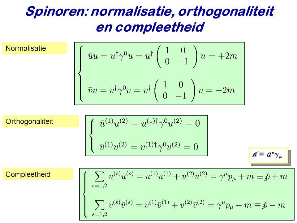 Najaar 2009Jo van den Brand12 Spinoren: normalisatie, orthogonaliteit en compleetheid Normalisatie Orthogonaliteit Compleetheid