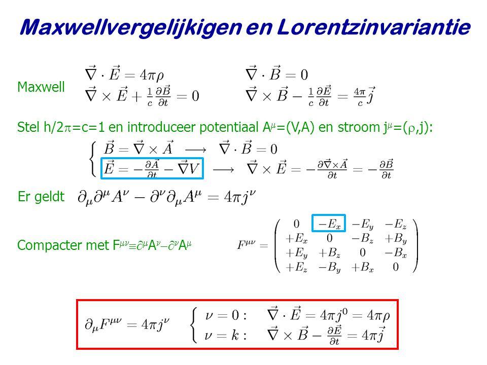 Najaar 2009Jo van den Brand14 Maxwellvergelijkigen en Lorentzinvariantie Maxwell Stel h/2  =c=1 en introduceer potentiaal A  =(V,A) en stroom j  =( ,j): Er geldt Compacter met F    A    A 