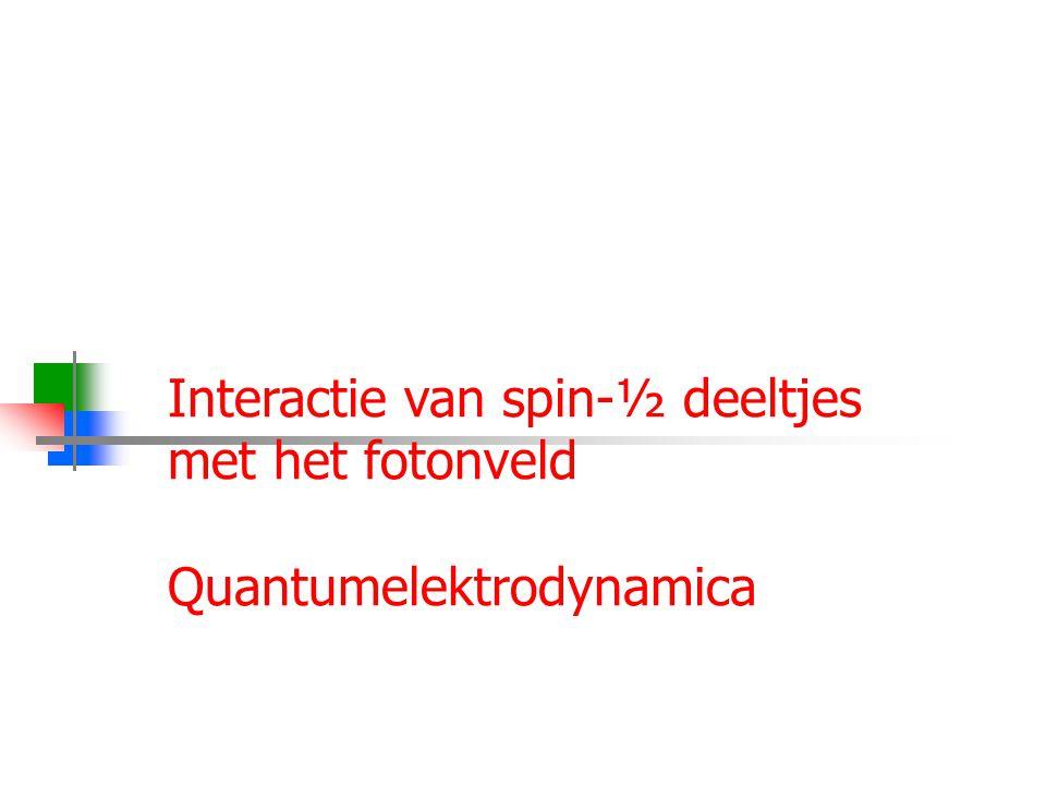 Najaar 2009Jo van den Brand17 Interactie van spin-½ deeltjes met het fotonveld Quantumelektrodynamica