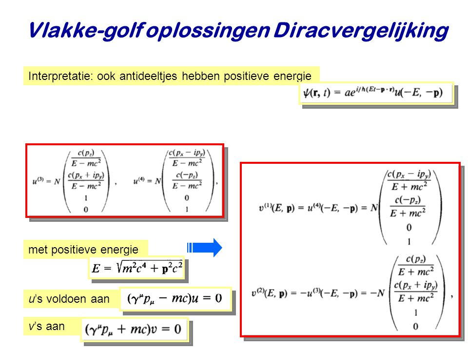 Najaar 2009Jo van den Brand6 Vlakke-golf oplossingen Diracvergelijking Interpretatie: ook antideeltjes hebben positieve energie met positieve energie u's voldoen aan v's aan