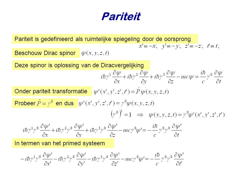 Intrinsieke pariteit Dit is de Diracvergelijking in de nieuwe coordinaten Omdat anticommuteert met Onder een pariteit transformatie verandert de Diracvergelijking niet als de spinoren transformeren als Deeltje in rust Deeltje en antideeltje in rust hebben tegengestelde intrinsieke pariteit Vermenigvuldigen met