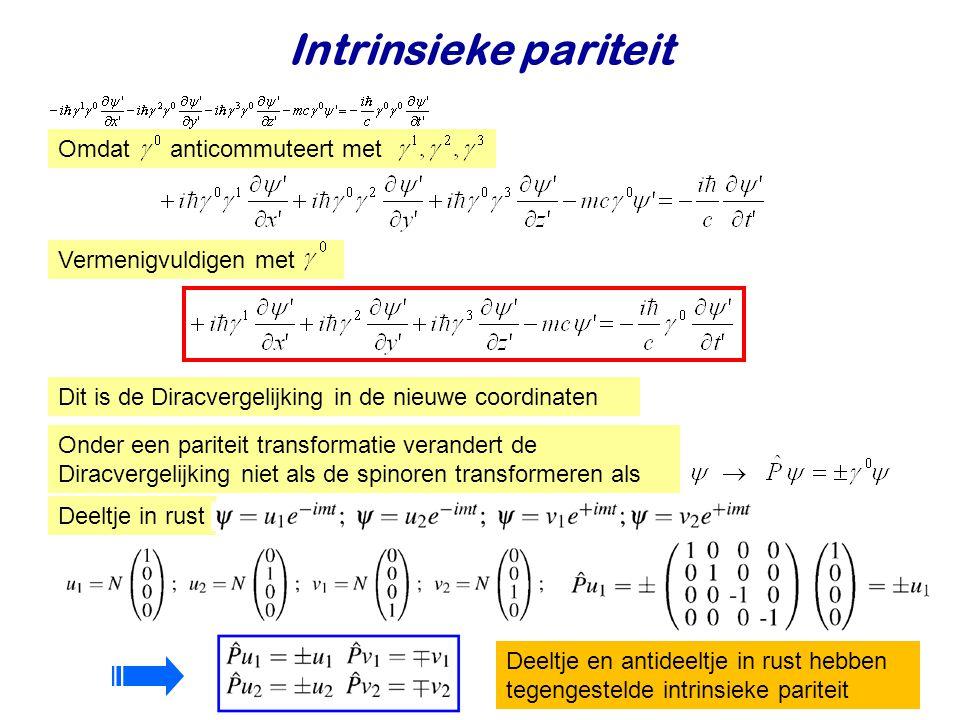 Intrinsieke pariteit Dit is de Diracvergelijking in de nieuwe coordinaten Omdat anticommuteert met Onder een pariteit transformatie verandert de Dirac
