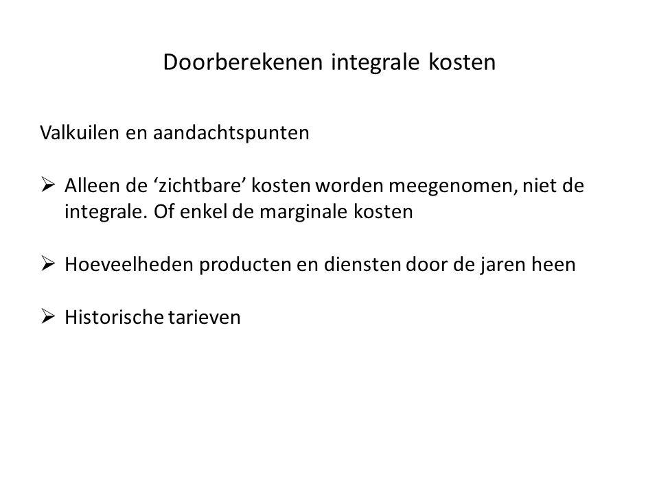 Doorberekenen integrale kosten Valkuilen en aandachtspunten  Alleen de 'zichtbare' kosten worden meegenomen, niet de integrale. Of enkel de marginale