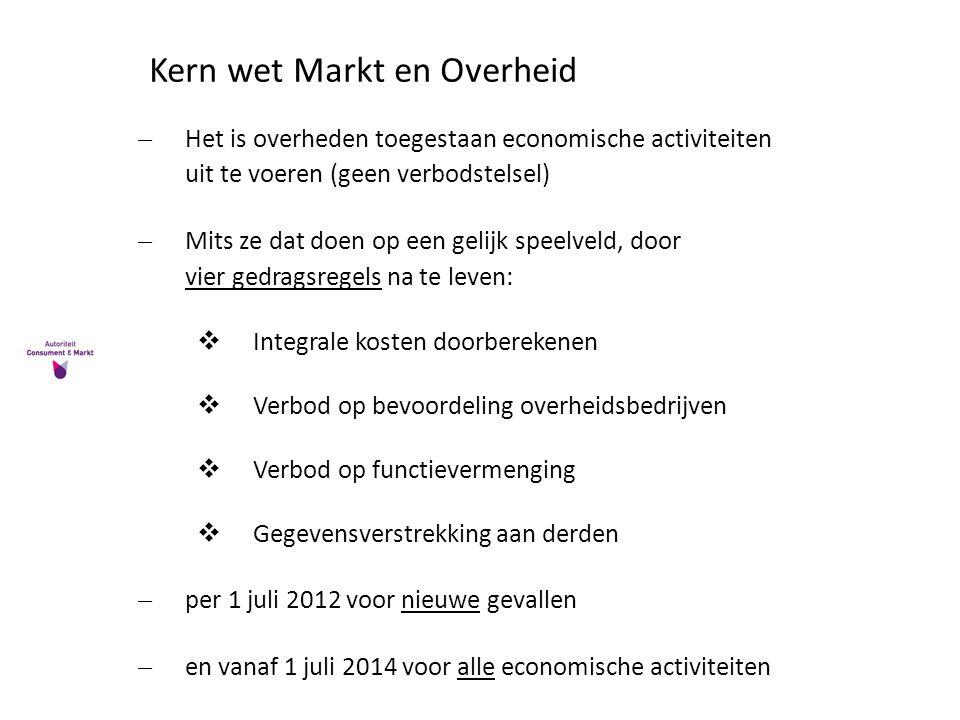Kern wet Markt en Overheid ̶Het is overheden toegestaan economische activiteiten uit te voeren (geen verbodstelsel) ̶Mits ze dat doen op een gelijk sp