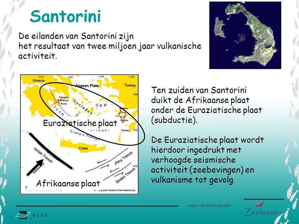 V L I Z www.vliz.be/educatie Zeelessen Santorini De eilanden van Santorini zijn het resultaat van twee miljoen jaar vulkanische activiteit. Ten zuiden
